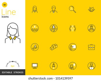 Office and Business line yellow icon collection, editable strokes. For mobile concepts and web apps. Vector illustration, clean flat design