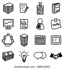 office or business objects, icons set / cartoon vector and illustration, hand drawn style, black and white, isolated on white background.