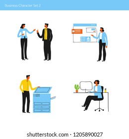 Office business people characters. Vector set. Minimal trendy office concept illustration.