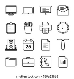 Office And Business Related Icons. Contains such Icons as Business Meeting, Workplace, Office Building  more