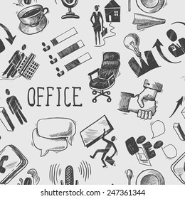 Office business sketch black and white seamless pattern with coffee cup handshake chart vector illustration