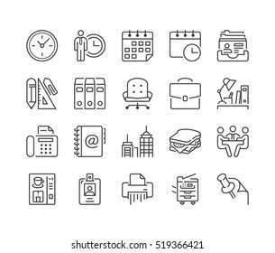 office and business thin line icon set, black color, isolated