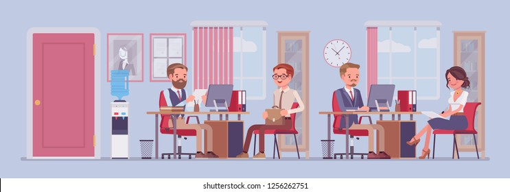 Office business workspace, hr manager interviewing job applicant, company staff working. Busy employees sitting at tables with computers, phones, meet clients. Vector flat style cartoon illustration