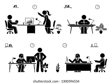 Office busy working stick figure man and woman vector icon set. Teamwork, solution, communication, supervisor pictogram