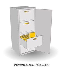 Office cabinet with drawers for storing documents and folders. Vector illustration on a white background.