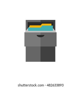 Office cabinet icon in flat color style. Files document information