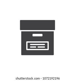Office cardboard box vector icon. filled flat sign for mobile concept and web design. Files archive box simple solid icon. Symbol, logo illustration. Pixel perfect vector graphics