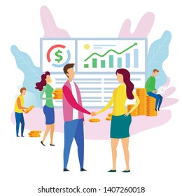 Office Cartoon People Team Analysys Financial Data Progress Man Shake Hand Woman Vector Illustration. Worker Employee Hire Buy Operating Business Sell Mobile Application Sucess Management