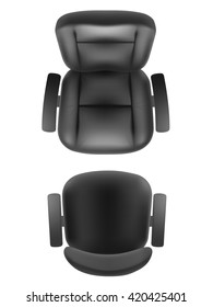 Office chair and boss armchair top view vector realistic, isolated. Furniture for office, cabinet or conference room plan.
