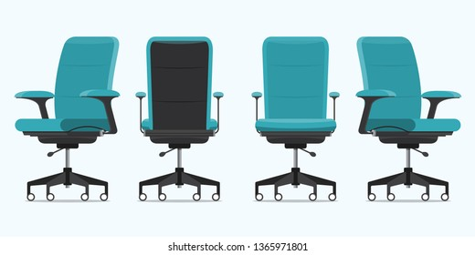 Office chair or desk chair in various points of view. Armchair or stool in front, back, side angles. Blue furniture for Interior in flat design. Vector illustration.