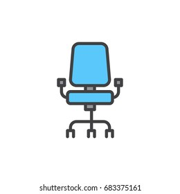 Office chair filled outline icon, line vector sign, linear colorful pictogram isolated on white. Symbol, logo illustration. Pixel perfect vector graphics