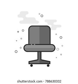 Office chair icon in flat outlined grayscale style. Vector illustration.