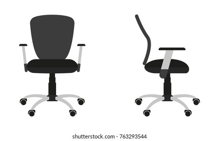 Office chair icon isolated on white background. Front and side view. Flat design. Vector illustration.