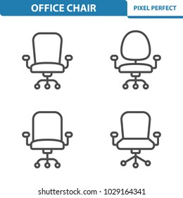 Office Chair Icons. Professional, pixel perfect icons optimized for both large and small resolutions. EPS 8 format. 5x size for preview.