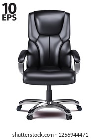 Office chair isolated realistic vector 3d illustration.