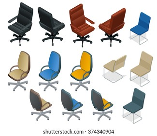 Office chair on white background. Big set of Office furniture. Flat 3d isometric vector illustration. For infographics and design games.