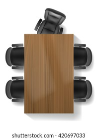 Office chair and table, top view vector realistic, isolated. Furniture for office, cabinet or conference room plan.