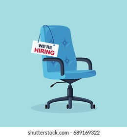 Office chair with vacancy sign isolated on blue background. Empty seat for employee. Business hiring and recruitment concept. Furniture, vacant armchair icon. Vector illustration. Flat style design