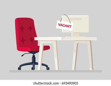 Office chair with vacancy sign isolated on blue background. Empty seat, workplace for employee. Business hiring and recruitment concept. Furniture, vacant desk, armchair icon. Vector flat illustration