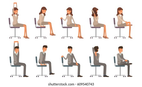 Office chair yoga. Corporate workout vector illustration on white isolated background. Business man and woman stretching on a work place.