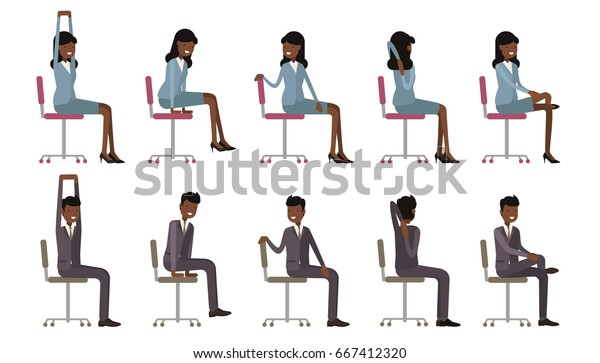 Office Chair Yoga Corporate Workout Vector Stock Vector Royalty Free 667412320