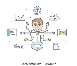 office character developer in the Lotus pose weth icons  with six arms in flat style on a white background