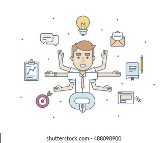 office character manager in the Lotus pose with six arms with icons  in flat style on a white background