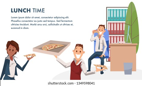 Office Character with Pizza Lunch Time Banner. Coworker Have Break for Italian Food. Happy Worker in Workplace. Man Hold Cardboard Box of Junkfood . Cartoon Flat Vector Illustration