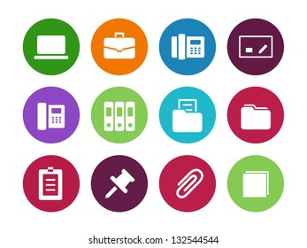 Office circle icons on white background. Vector illustration.