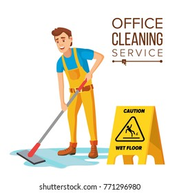 Office Cleaning Service Vector. Washing Machine, Broom. Isolated On White Cartoon Character Illustration