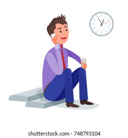 Office clerk have coffee break at work during lunch time and speaks on the cell phone. Vector illustration colorful isolated on white background