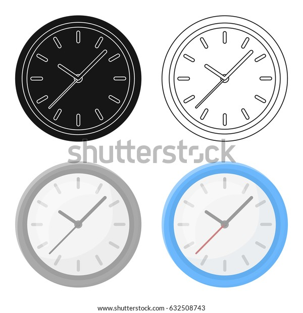 Office clock icon in cartoon style isolated on white background. Office furniture and interior symbol stock vector illustration.