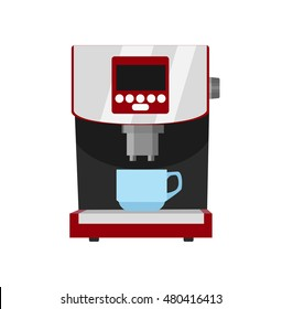 Office coffee machine vector illustration in flat style. Coffee maker with cup. Home coffee machine isolated on white background. Appliances
