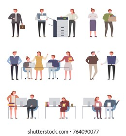 Office colleagues co-worker character vector illustration flat design