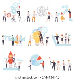 Office Colleagues Working Together Set, Business Team, Teamwork, Cooperation, Partnership Vector Illustration