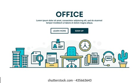 Office, colorful concept header, flat design thin line style, vector illustration