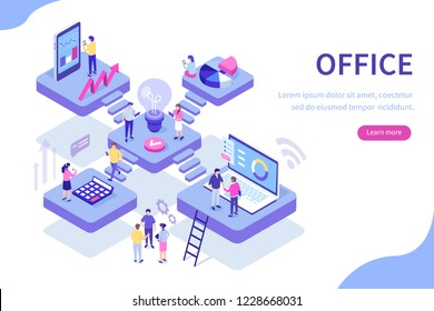 Сoworking office concept design. Can use for web banner, infographics, hero images. Flat isometric vector illustration isolated on white background.