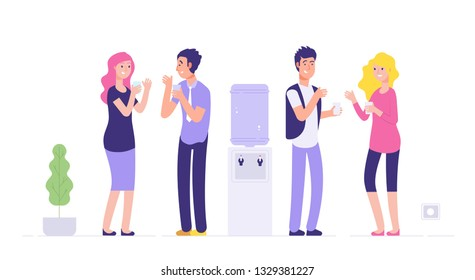 Office cooler break. Man and woman drinking water young people talking at cooler social informal meeting business vector concept