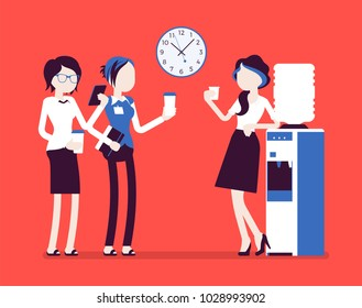 Office cooler chat. Young female workers having informal conversation around a watercooler at workplace, colleagues refreshing during a break. Vector illustration with faceless characters