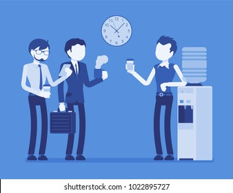 Office cooler chat. Young male workers having informal conversation around a watercooler at workplace, colleagues refreshing during a break. Vector illustration with faceless characters