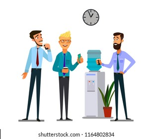 Office cooler chat. Young male workers having informal conversation around a watercooler at workplace, colleagues refreshing during a break. Vector illustration.