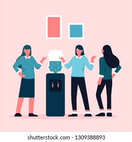 Office cooler chat. Young  women having conversation around a watercooler at workplace, colleagues refreshing during a break. Vector illustration with faceless characters