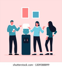 Office cooler chat. Young  workers having informal conversation around a watercooler at workplace, colleagues refreshing during a break. Vector illustration with faceless characters