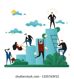 Office Cooperative Teamwork. People Climb to the Corporate Ladder. The Concept of Career Growth. Business Concept Vector Illustration