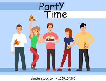 Office Corporate Party Flat Vector Illustration. Cartoon Colleagues Celebrating Birthday at Workplace. Cheerful Office Workers Eating Pizza and Dancing. Delicious Festive Pastry with Candles