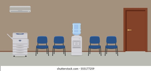 Office corridor. Place to wait. There are blue chairs, a water cooler, a copy machine, a conditioner and other objects in the picture. Vector flat illustration.