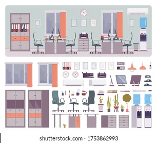 Office creative workspace design, comfortable collaboration workplace interior construction set with furniture, constructor element to make own environment. Cartoon flat style infographic illustration