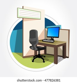 Office cubicle working desk with desktop computer. Corner desk. Vector illustration.