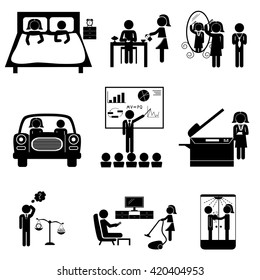 Office daily routine life of married couple (man and woman sticks). Vector icons set isolated on white background