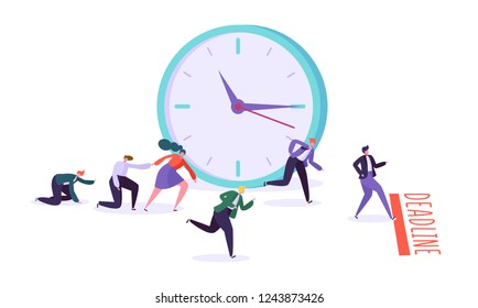 Office deadline and business characters competition. Time management on the road to success. Group of running businessmen to achieve results. Help colleagues to complete project. Vector illustration
